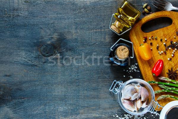 приготовления Ингредиенты свежие чеснока банку оливкового масла Сток-фото © YuliyaGontar