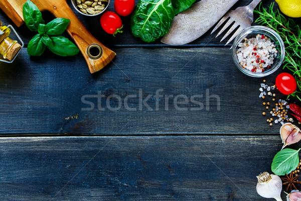 Stok fotoğraf: Taze · sebze · pişirme · ayarlamak · bağbozumu
