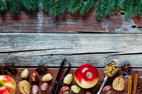 Ingredientes Navidad vacaciones pastel de manzana nueces Foto stock © YuliyaGontar