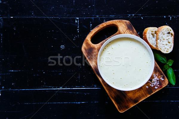 Gustoso crema zuppa giallo servito Foto d'archivio © YuliyaGontar
