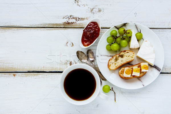 Brie cheese and fig jam sandwiches Stock photo © YuliyaGontar