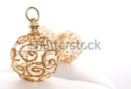 Grzech złota christmas piłka biały przestrzeni Zdjęcia stock © yupiramos