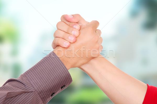 Greeting friends Stock photo © yupiramos