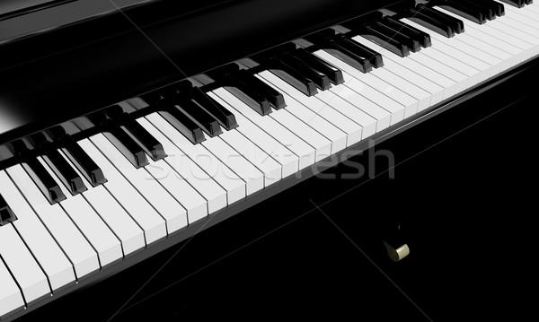 Foto stock: Teclas · de · piano · instrumento · musical · 3D · música · teclado