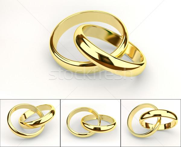 Foto stock: Anéis · de · casamento · ouro · branco · casamento · fundo · metal