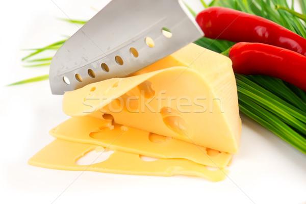Vág sajt pázsit paprikák kés acél Stock fotó © yura_fx