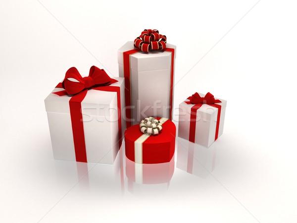 Ajándékok dobozok közelkép fehér papír doboz Stock fotó © yura_fx