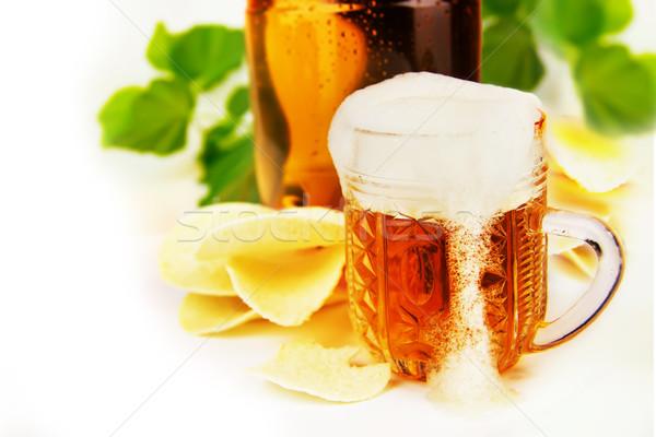 Sör sültkrumpli fehér csepp hideg stúdió Stock fotó © yura_fx