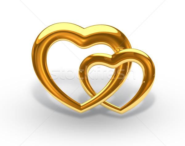 Arany szív esküvő fekete ajándék hátterek Stock fotó © yura_fx
