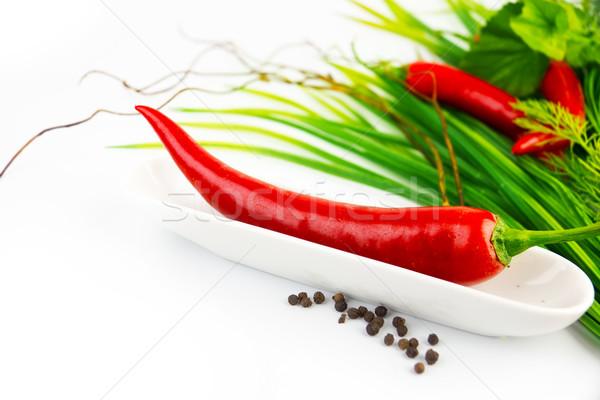 Caliente pimientos plato blanco alimentos Foto stock © yura_fx