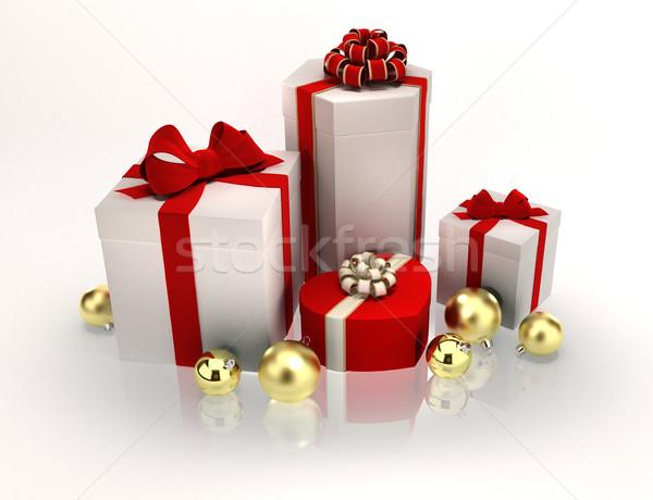 Karácsony ajándékok közelkép ajándékok fehér papír Stock fotó © yura_fx