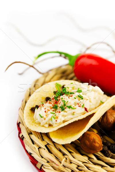 Porción arroz salsa especias servilleta Foto stock © yura_fx