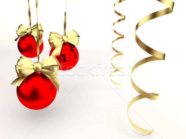 Noel oyuncaklar cam beyaz şerit tekstil Stok fotoğraf © yura_fx