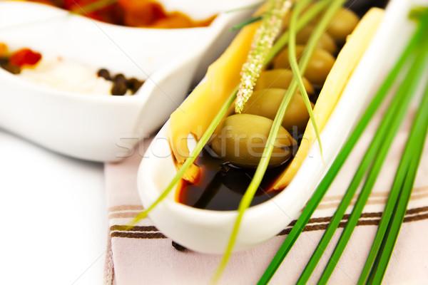 Verde olive salsa ceramica piatto alimentare Foto d'archivio © yura_fx