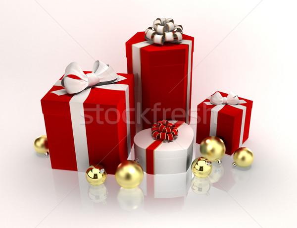 Noel hediyeler hediyeler beyaz kâğıt Stok fotoğraf © yura_fx