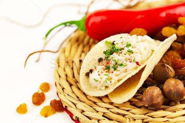 Pirinç sos baharatlar peçete Stok fotoğraf © yura_fx
