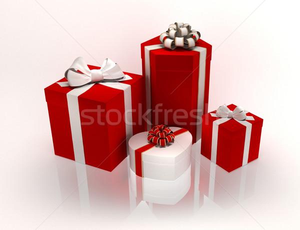 Hediyeler kutuları beyaz kâğıt kutu Stok fotoğraf © yura_fx