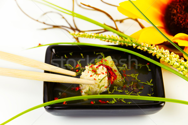 Finom húsgombócok mártás virág hús forró Stock fotó © yura_fx