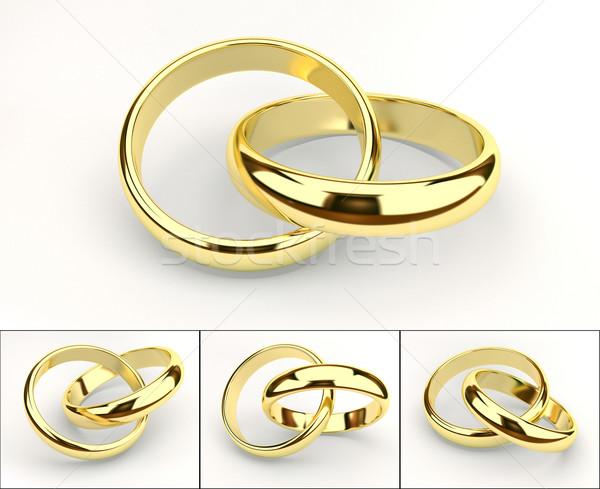 Jegygyűrűk arany fehér esküvő háttér fém Stock fotó © yura_fx