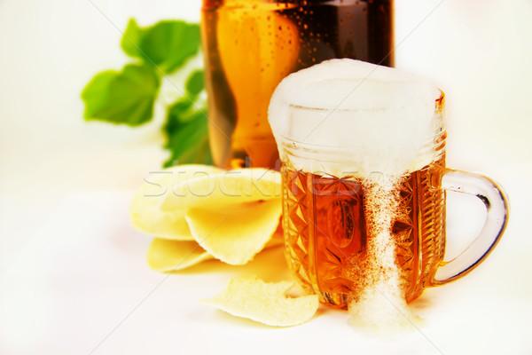 üveg sör műanyag üveg sültkrumpli csepp Stock fotó © yura_fx