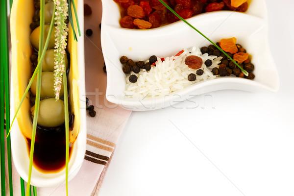 Yeşil zeytin sos seramik plaka gıda Stok fotoğraf © yura_fx