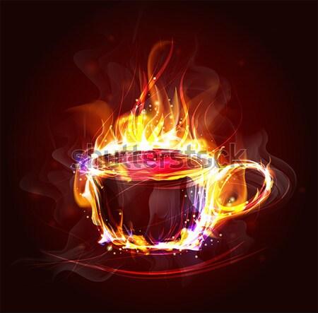 Yangın çerçeve dizayn vektör sıcak Alevler Stok fotoğraf © yura_fx