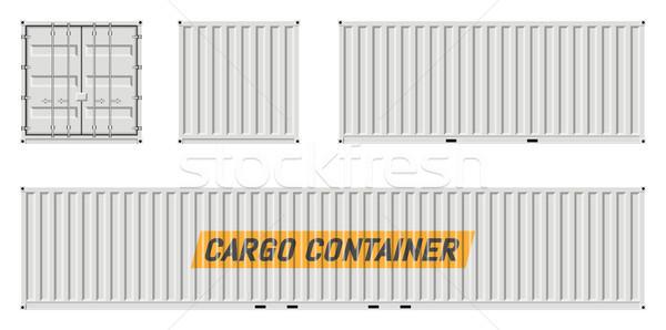 Fehér teher konténer vektor vázlat oldal Stock fotó © YuriSchmidt