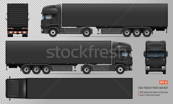 Truck with trailer vector mockup Stock photo © YuriSchmidt