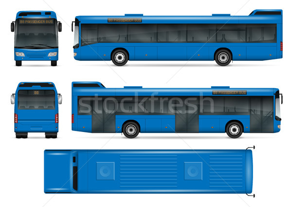 Blue bus vector mockup Stock photo © YuriSchmidt
