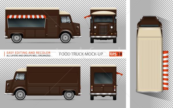 Retro żywności ciężarówka wektora reklamy Zdjęcia stock © YuriSchmidt