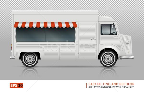 ストックフォト: 食品 · トラック · 表示 · 右 · サイド · レトロな