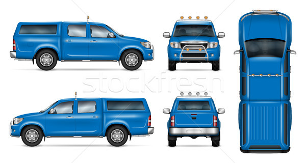 Blue pickup vector mockup Stock photo © YuriSchmidt