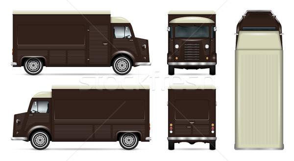 Retro comida caminhão vetor modelo para cima Foto stock © YuriSchmidt