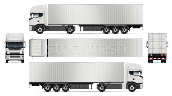 Truck with container vector mockup Stock photo © YuriSchmidt
