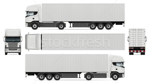 Ciężarówka pojemnik wektora szablon reklamy Zdjęcia stock © YuriSchmidt