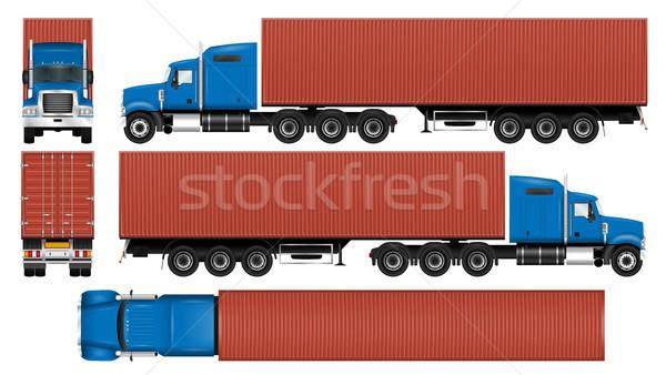 Groot vrachtwagen container sjabloon geïsoleerd witte Stockfoto © YuriSchmidt