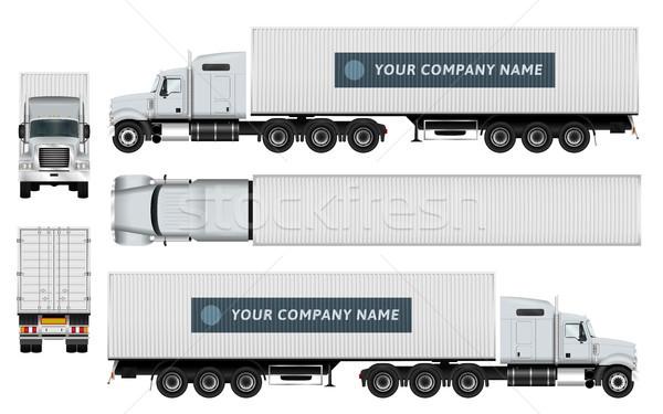Carga caminhão modelo recipiente branco capacidade Foto stock © YuriSchmidt