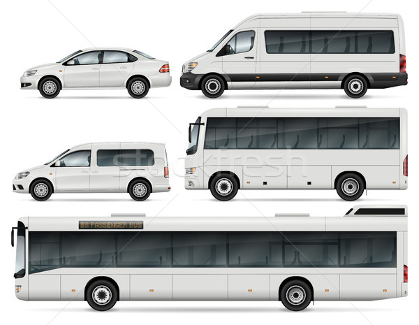 Buses and cars vector illustration Stock photo © YuriSchmidt