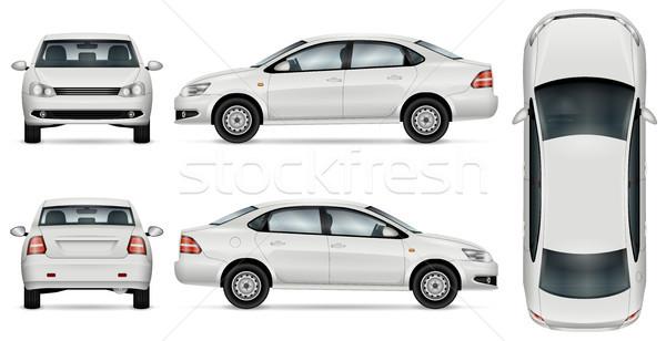 Biały samochodu szablon branding reklamy odizolowany Zdjęcia stock © YuriSchmidt