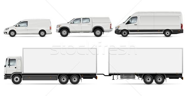 Teherautók teher szállítás vázlat teherautó furgon Stock fotó © YuriSchmidt