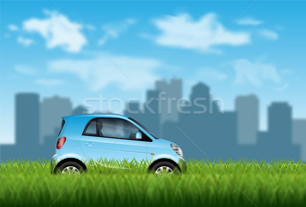 Pequeno carro grama grama verde cidade Foto stock © YuriSchmidt