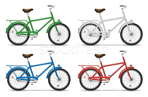 Bicycles on white background Stock photo © YuriSchmidt