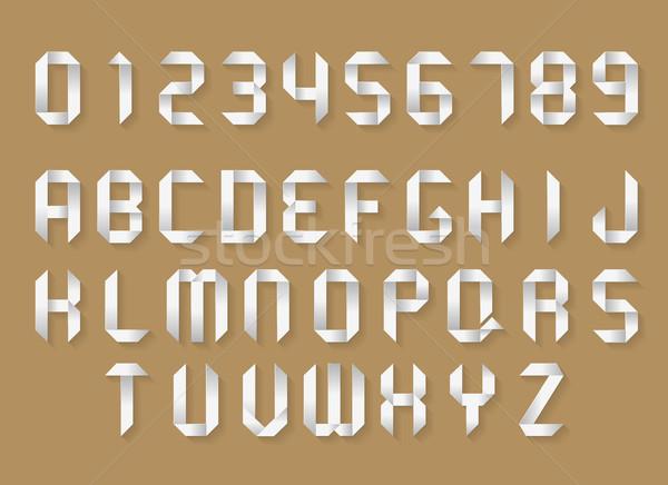 Papír ábécé számok fehér origami vektor Stock fotó © YuriSchmidt