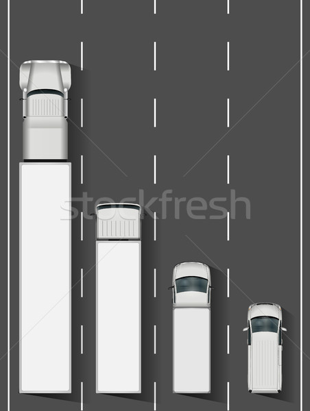 Trucks on highway vector illustration. Stock photo © YuriSchmidt