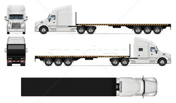 Flatbed truck realistic vector illustration Stock photo © YuriSchmidt