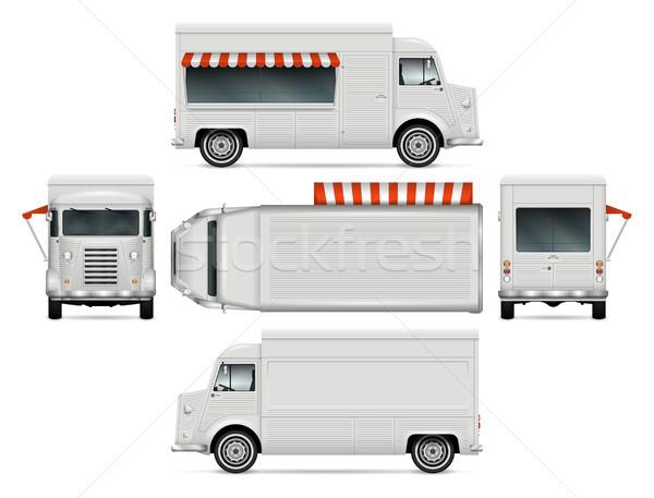 Foto stock: Comida · caminhão · modelo · retro · vetor · para · cima