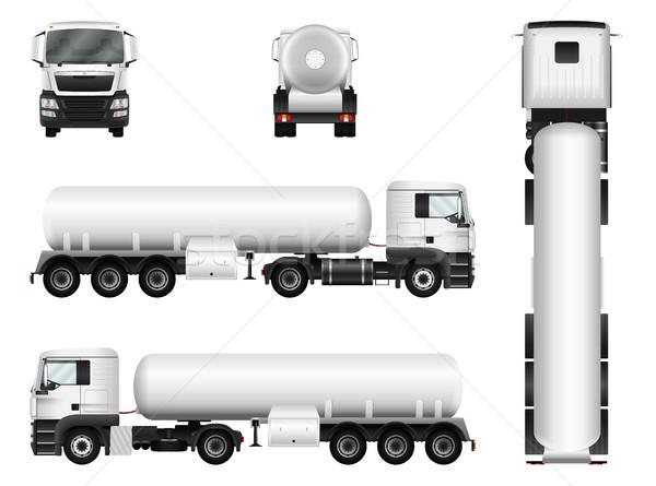 ストックフォト: トラック · 白 · ベクトル · タンク · 車 · テンプレート