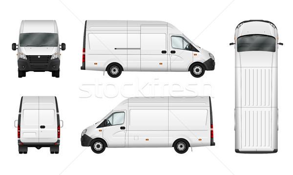 Vracht van witte stad commerciële minibus Stockfoto © YuriSchmidt