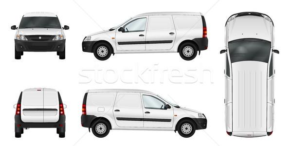 ストックフォト: ベクトル · 車 · テンプレート · 白 · 孤立した · 貨物
