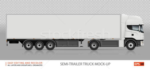 Stock photo: Semi-trailer truck veсtor mockup